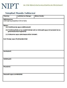 Teimpléad don Phleanáil Fhadtéarmach (Leagan Word) Templates, How To Plan, Words, Role Models, Stenciling, Template, Stencils, Models, Western Food