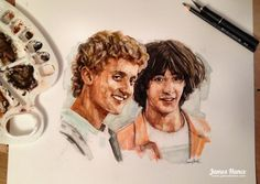 Illustration art painting portrait keanu reeves alex winter bill and ted james hance New Matrix, The Lost Boys 1987, Alex Winter, Happy 25th Birthday, Keanu Reeves, Sculpture Art, Sculptures, Good Movies, Card Games