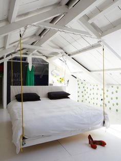 themed bedroom white attic bedroom with scandinavian style with hanging bed 36 cozy and beautiful scandinavian bedroom decor ideas - Cool Beds For Teens