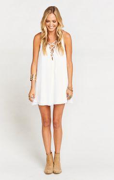 0d23a00dc Rancho Mirage Lace Up Tunic Dress ~ White Chiffon