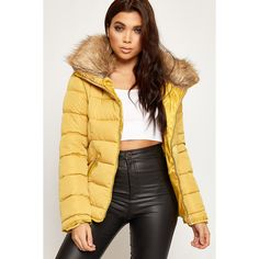 WearAll Quilted Faux Fur Hooded Puffer Jacket ($72) ❤ liked on Polyvore featuring outerwear, jackets, mustard, mustard jacket, long jacket, quilted jacket, hooded jacket and puffa jacket
