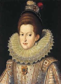 Molensteenkraag - This portrait of Queen Margarita is a good picture of a Habsburg, but I cannot find who painted it or when or where it is located