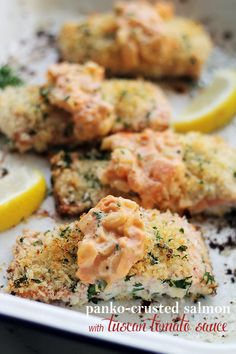 Panko-Crusted Salmon with Tuscan Tomato Sauce - Baked Salmon Fillets ...