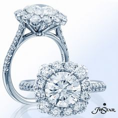 Gorgeous round diamond engagement ring encircled with perfectly matched round diamonds and pave sides