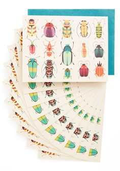 Arthropods and Ends Notecard Set. Are those thank-you notes still lingering on your to-do list? #multi #modcloth