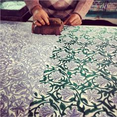 The amazing block printing technique that we use on all of our new bedding from India - the blocks are hand carved and then the bedding is hand printed.  The variations in the print speak to the amazing artistry and you can literally see the hand of the craftsperson in every piece.  I love this age old manufacturing technique and I am truly inspired when I work with our block printers.