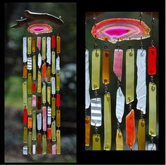 Recycled Beach Glass Inspired Wind Chimes - Scottish Sunset