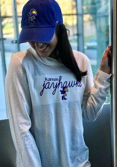 f3b734cd3 '47 Kansas Jayhawks Womens White Club Hooded Sweatshirt, White, 70% COTTON  / 30% POLYESTER, Size S. '