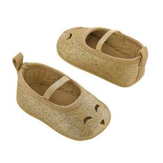 Baby Girl Carter's Gold Glitter Perforated Kitty Mary Jane Crib Shoes, Size: