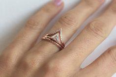 Rose Gold Set, Diamond Engagement Set, Diamond Engagement Ring Set with Eternity Diamond Ring