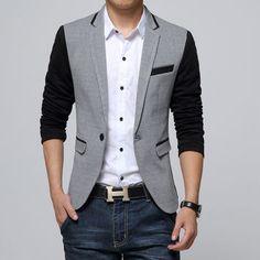 New Slim Fit Casual jacket Cotton Men Blazer Jacket Single Button Gray Mens Suits Autumn Patchwork Coat