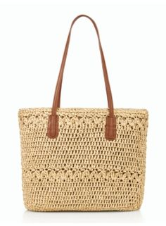 Women's Clothing & Apparel Paper Straw Tote – Metallic – Talbots Fairy Clothes, Straw Handbags, Stylish Handbags, Art Bag, Diy Purse, Straw Tote, Knitted Bags, Crochet Bags, Summer Bags