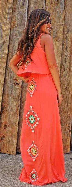 Embroidered boho red maxi dress