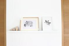 Kinderkunst: Wohnwagen & Ahornblatt mit Tusche gedruckt