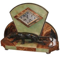 1930's Art Deco Marble Panther Clock