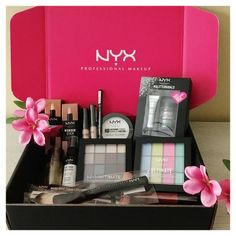 NYX cosmetics Box of Best Sellers! All of the products from my recent box of goodies from NYX Cosmetics! Pink Lipsticks, Lipstick Colors, Glitter Lipstick, Best Beauty Tips, Beauty Advice, Beauty Hacks, Maquillage Mary Kay, Boar Hair Brush, Cosmetic Box