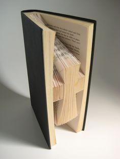 Hardback Book - Folded Book Art - Holy Cross