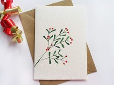 Christmas, Set of 6 Hand-painted Christmas Cards, Mistletoe, Minimalist Card, Holiday Greeting Cards Painted Christmas Cards, Watercolor Christmas Cards, Watercolor Cards, Christmas Art, Handmade Christmas, Holiday Greeting Cards, Xmas Cards, Christmas Family Feud, Paint Cards