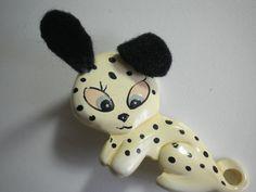 Vintage Carved Plastic Bakelite ? Martha Sleeper Style Dog Novelty Pin HandPaint #Unknown
