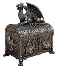 Dragon - Treasure Chest Box [TL157600215] - $49.50 : Unique Gifts for Body Mind and Spirit | Metaphysical, Conscious Living, Personal Growth and Development | Statuary, Tarot, New Age Music, Books, Home and Altar Decor, The Guiding Tree. Would make a great Tarot deck holder.