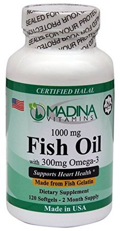Halal Omega 3 Fish Oil 1000mg 120 Softgels with Fish Gelatin  Madina Vitamins >>> You can find out more details at the link of the image.