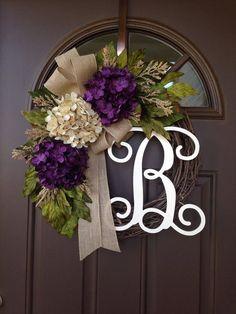 Everyday Wreath - Monogram Wreath - Year Round Wreath - All Season Hydrangea Wreath - Grapevine Wreath with Burlap Bow - Monogrammed Wreath Front Door Monogram, Monogram Wreath, Front Door Decor, Diy Wreath, Wreaths For Front Door, Grapevine Wreath, Monogram Door Decor, Wreath Ideas, Front Porch