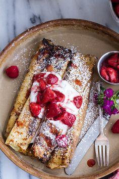 Lemon Ricotta Cheese Stuffed French Toast Crepes with Vanilla Stewed Strawberries | halfbakedharvest.com