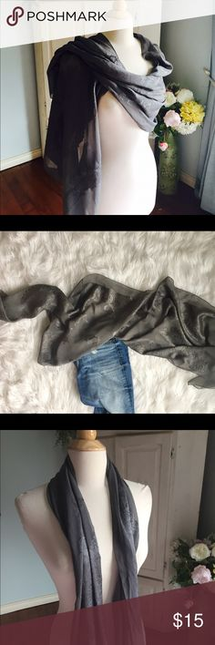 "Bundle&Save20% gorgeous 100%silk gray scarf 21"" wide. 67"" long   100% silk gray scarf and wrap. So many fun ways to wear. Minor wear. No rips just normal minor wear. Price reflects Accessories Scarves & Wraps"