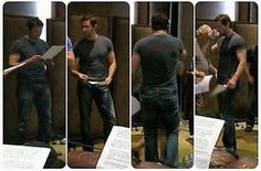 Richard with The Hobbit Dwarves in singing rehearsal. Jeans and a T. Perfect from all sides..