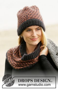 City Chic Set - Knitted hat and neck warmer with pepita-pattern in DROPS Kid-Silk. The piece is worked with garter stitch and square pattern with raised stitches. Drops Design, Mode Crochet, Knit Crochet, Crochet Hats, City Chic, Knitting Patterns Free, Free Knitting, Crochet Patterns, Petite Fashion