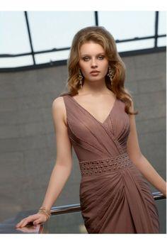 Sheath/Column V-neck Sleeveless Floor-length Chiffon Evening Dress #VJ121