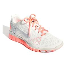 Nike 'Free TR Fit 2' Training Shoe (Women) White/ Mango 6 M ($60) ❤ liked on Polyvore featuring shoes, athletic shoes, sneakers, women, training shoes, light weight shoes, white training shoes, nike shoes and athletic training shoes