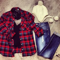 Checkered Shirt white winters hat & skinny jeans lovvee