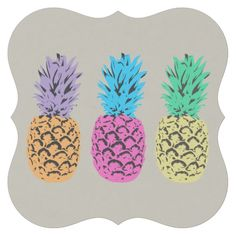 Colorful illustrated Pineapples Paper Coaster