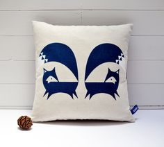 Hand Screen Printed Fox Cushion Cover in French Navy. via Etsy.