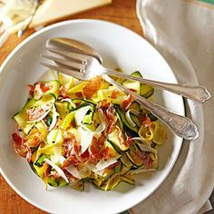 Squash Ribbons with Parmesan and Crisp Bacon