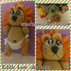 1 Baby Lion Fondant cake topper. Size 4.5 X by SweetMannaCreations, $20.00