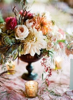Vintage style Autumn Fall Wedding floral table decoration wedding colors september / fall color wedding ideas / color schemes wedding summer / wedding in september / wedding fall colors Fall Wedding Centerpieces, Fall Wedding Bouquets, Floral Centerpieces, Wedding Table, Floral Wedding, Wedding Flowers, Wedding Decorations, Wedding Ideas, Gold Wedding