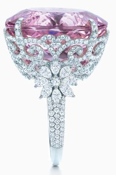 This spectacular ring is a 25.29-carat kunzite and diamond ring by the estimable Tiffany and Co.
