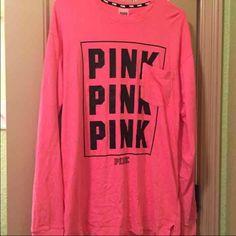Vs pink long sleeve campus tee Worn once. Oversized PINK Victoria's Secret Tops Tees - Long Sleeve
