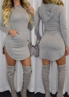 Sexy Long Sleeve Grey Curved Hoodie Dress