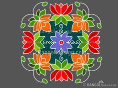 Beautiful Dotted Lotus Rangoli Design by sumitha Rangoli Designs Simple Diwali, Indian Rangoli Designs, Rangoli Designs Flower, Free Hand Rangoli Design, Small Rangoli Design, Rangoli Ideas, Rangoli Designs With Dots, Flower Rangoli, Rangoli With Dots