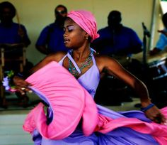 Afro-Puerto Rican lady from Loiza performing her traditional African dance.