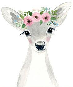 Watercolor fawn in grey tones Woodland nursery Animal Paintings fox cub Bear Deer watercolor animal kids posters prints woodland