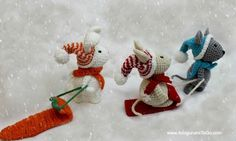 Free pattern. So adorable! Amigurumi To Go: Winter Friends Set Pattern Links With Gallery