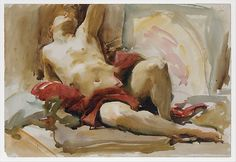 Man with Red Drapery, by John Singer Sargent; after 1900; watercolor and graphite on white wove paper. At the Robert Wood Johnson, Jr. Gallery, the @metmuseum in NYC.