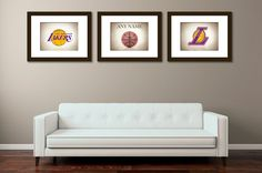 Personalized set of 3 Los Angeles Lakers photo by IprayStudio