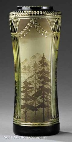 French Etched and Cut Cameo Glass Vase, c. 1925, by Val St. Lamber