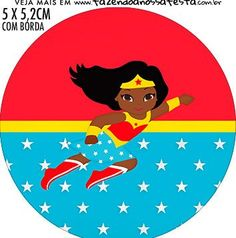 Wonder Woman Afro Free Printable Cupcake Wrappers and Toppers. Afro, Hero Of The Day, Hello Kitty Baby, Female Superhero, Black Kids, Party Planning, Party Themes, Free Printables, Chibi