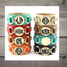 Monogrammed Leather Cuff Bracelets - Personalized Jewelry - Great Gift ideas by SCSassyBelle on Etsy Geek Jewelry, Gothic Jewelry, Cowgirl Jewelry, Metal Jewelry, Jewelry Necklaces, Custom Decal Stickers, Yeti Decals, Vinyl Decals, Grad Gifts